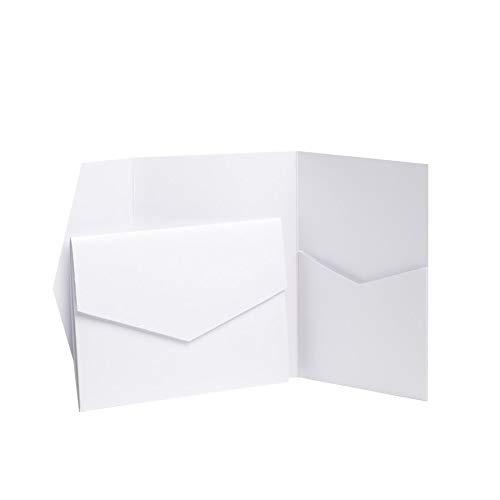 Türkis, Blau, Perlglanz Falt-Einladungen, 130mm x 185mm, von Pocketfold Invites LTD. weiß