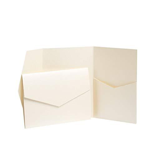 Pocketfold Invites LTD Elfenbeinfarbene perlmuttartige Einladungen, 130 mm x 185 mm elfenbeinfarben
