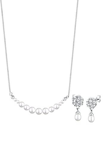 Elli PREMIUM Schmuckset Damen Set Klassisch mit Kristalle aus 925 Sterling Silber