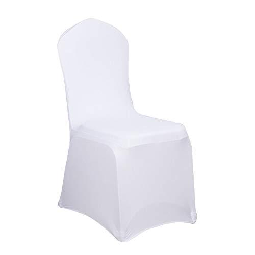 LARS360 Weiß Stuhl Husse Schleifenband Stuhlbezüge Stuhlhussen Stretch Acelectronic Stuhlüberzug Moderne Stuhl Abdeckung für Hochzeiten und Feiern (10 Stück Stuhlhussen)