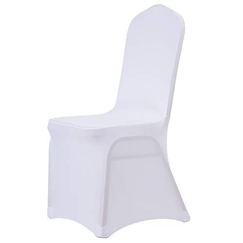 Z ZELUS Universell Stuhlhussen 100 Stück Stuhlbezüge Stuhl Husse Stuhlbezug Stuhlüberzug Stretch Moderne Stuhlabdeckung Weiß für Hochzeiten Feiern Party (100 Stück)