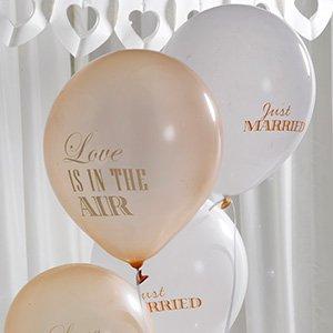 Luftballons mit der Aufschrift 'just married' & 'love is in the air' in creme & gold - Inhalt 8 Ballons pro Packung - originelle Deko für Ihre Hochzeit