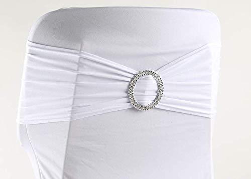eventkauf 100 Stuhlschleifen Stretch Schleifenbänder Schleifen für Stuhlhussen (Weiß)