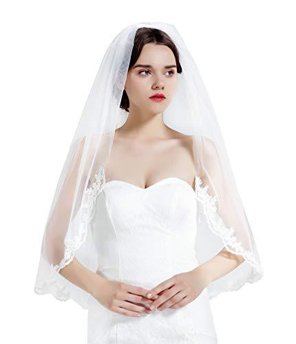 BEAUTELICATE Brautschleier Schleier Spitzenborte Für Braut Hochzeit Softtüll Weiß Ivory Lang Kurz Mit Metall Kamm 1 Schicht V71