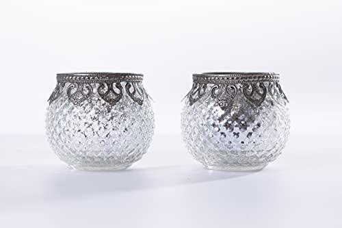 Home&Decorations FX23577S-2X Original Windlichter Teelichtgläser Kerzengläser Gläser Silber antik 2er Set - Ø 10cm