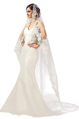 Babyonlinedress® Hochzeit Schleier Kathedrale Länge Lace Edge Soft Tüll Sheer Lang Brautschleier mit Kamm, Weiß (3M)