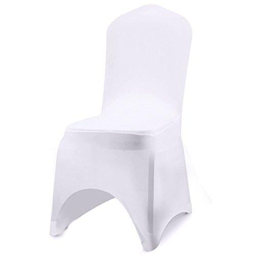 Stuhl Husse, 10 Stück Universell Stuhlhussen Stretchy Stuhlbezug Stuhlüberzug der Haus Hochzeit Dekoration, Arc-Shaped (Weiß)