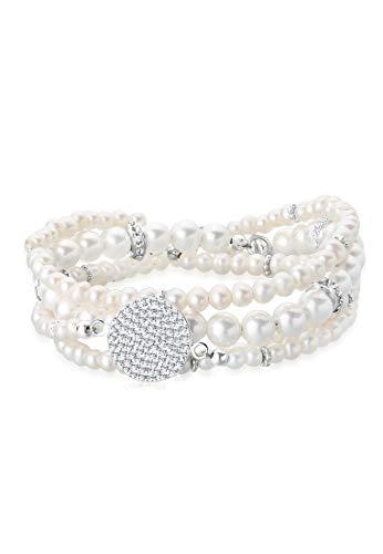 Elli PREMIUM Armband Damen Süßwasserzuchtperle mit Swarovski® Kristalle in 925 Sterling Silber