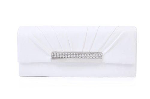 Damara Damen Glatt Kette Clutch Adlig Hochzeit Handtasche,Weiß