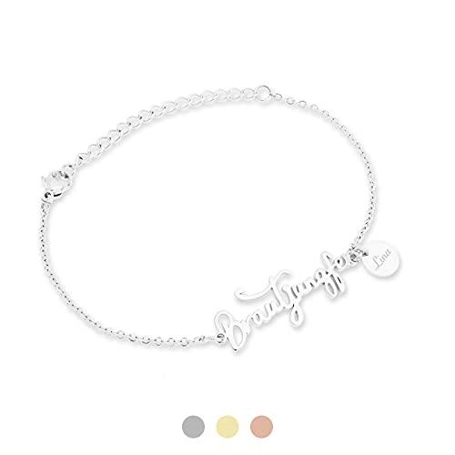 FLORA Brautjungfer Armband mit Namen Gravur | Personalisierte Geschenke | Brautjungfer fragen | Personalisierter Schmuck | Geschenk | Farbe Silber
