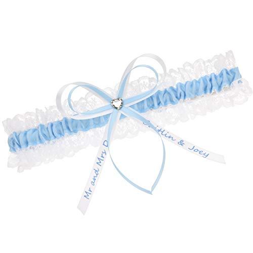 hochzeitsstrumpfband.de Strumpfband Blau - INDIVIDUELL BESCHRIFTET - (50-60 cm)