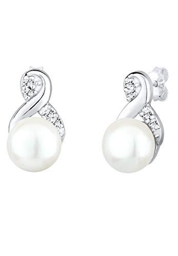 Elli Ohrringe Damen Infinity Perle mit Kristalle in 925 Sterling Silber