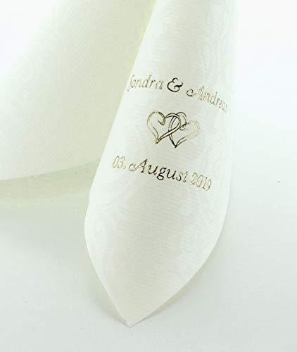 Hochzeitsservietten mit individuellem Aufdruck | hochwertiges Premium-Line Material, STOFFÄHNLICH | Weiße Servietten [50 Stück] | mit exklusivem Prägedruck | 40 x 40 cm | ¼ Falz | weiß (50 Stück)