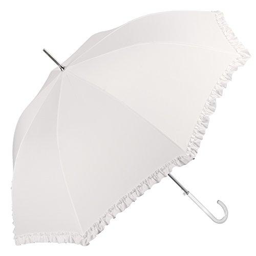 Elfenbeinweiß Brautschirm mit Rüschen - Hochzeit Regenschirm/Sonnenschirm - automatische Öffnung Schirm - Perletti (Rüschen)