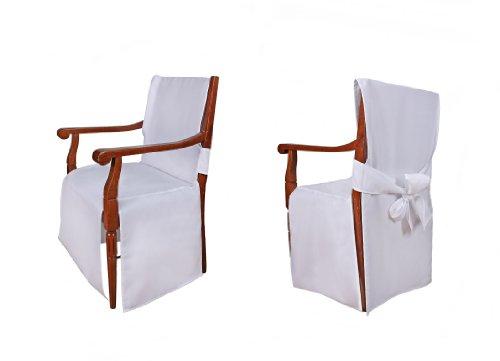 TexDeko Universal Stuhlhussen - Modell Monaco für Stühle mit Armlehne Weiß