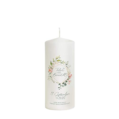 Liamoria® Hochzeitskerze mit Namen und Datum 20 x 7,8 cm - 'Echte Liebe' perfekt als Hochzeitsgeschenk - Hochzeitskerze für den schönsten Tag in deinem Leben