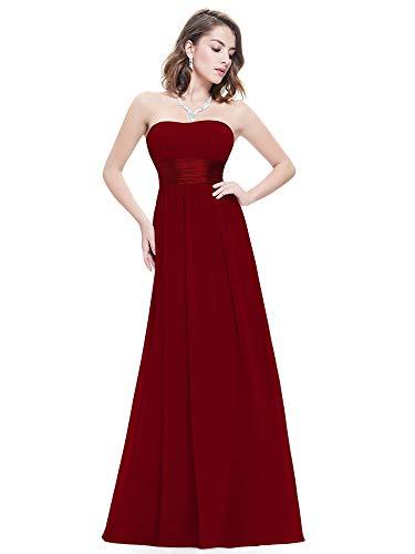 Ever-Pretty Damen Empire Taille Schulterfrei Lange Abendkleider Brautjungfernkleid 46 Größe Blau