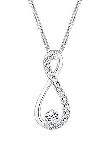Elli Halskette Damen Infinity Anhänger mit Kristallen in 925 Sterling Silber