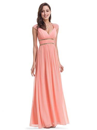 Ever-Pretty Damen Abendkleid A-Linie Partykleid V Ausschnitt Brautjungfer rückenfrei lang Pfirsich 38