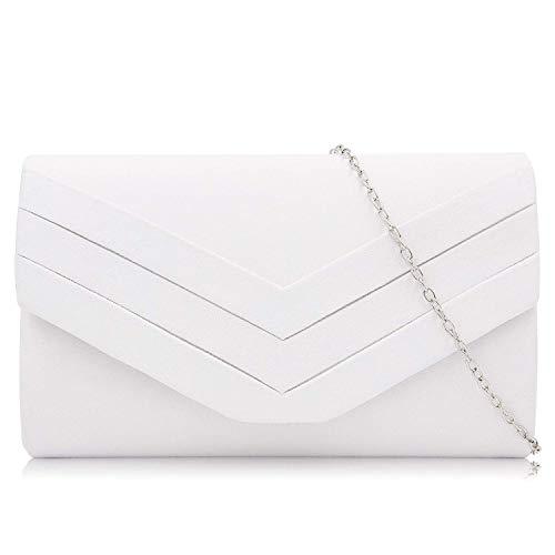 Milisente Damen Clutch, Wildleder Abendtasche Hochzeit Tasche Clutch Bag Elegante Umschlag Crossbody Schultertasche Umhängetasche Mädchen (weiß)