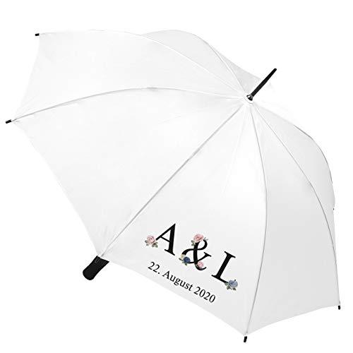 Herz & Heim® Hochzeits-Schirm mit Personalisierung - Motiv zur Auswahl Blumen