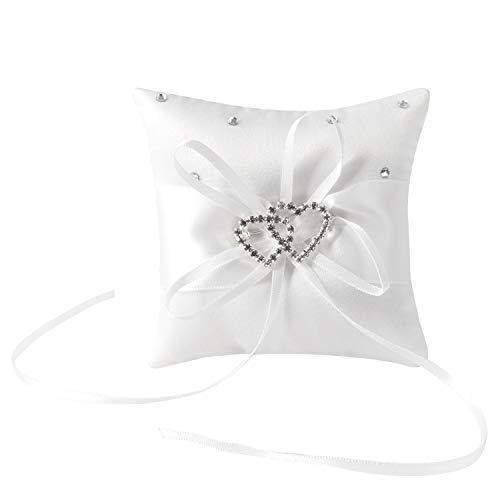 Ringkissen Hochzeit Hochzeitskissen Ehering Kissen mit Satinband Ring kissen Träger Vintage Ringhalter Hochzeit deko mit Doppelten Herzen etw. 10cm*10cm
