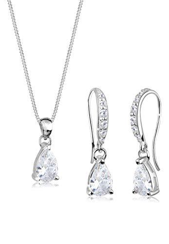 Elli Schmuckset Damen Tropfen Motiv Edel mit Zirkonia Kristalle aus 925 Sterling Silber