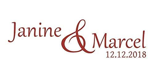 Autoaufkleber Hochzeit - Brautpaarnamen und Datum