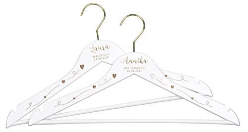 LAUBLUST 2 Kleiderbügel zur Hochzeit - Personalisiert mit Gravur - ca. 44 cm, Holz, Weiß | Serie: Willich