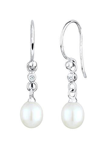 DIAMORE Ohrringe Damen Ohrhänger elegant mit Süßwasserperlen und Diamant (0.04 ct.) in 925 Sterling Silber