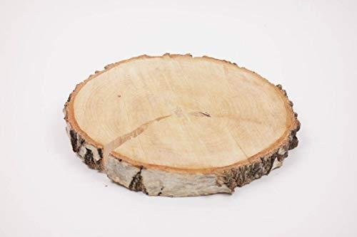 INNA-Glas Birken Holz Scheibe NINO, Natur, 3cm, Ø 25cm - Deko Baumscheibe - DIY Dekoration