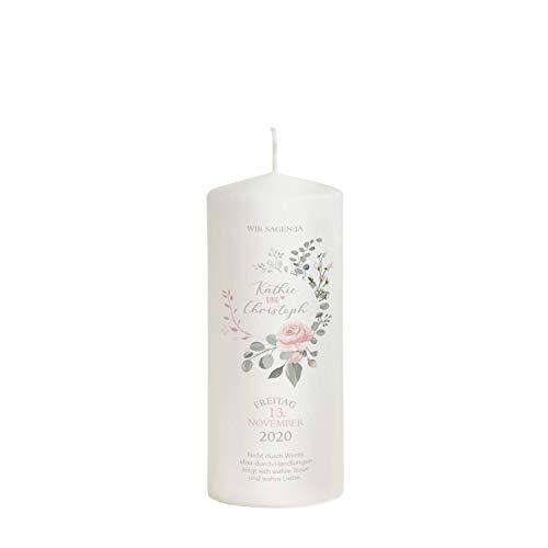 Liamoria® Hochzeitskerze mit Namen und Datum 20 x 7,8 cm - 'rosa Rose' perfekt als Hochzeitsgeschenk - Hochzeitskerze für den schönsten Tag in deinem Leben