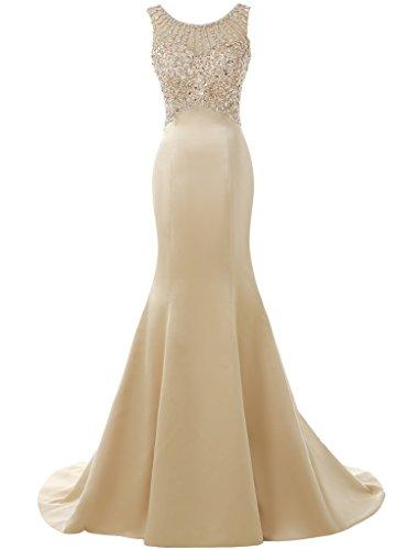 Solovedress Frauen Langes Meerjungfrau Prom Kleid Perlen Abendkleider Brautkleid Brautjungfer (Champagner, Eur36)