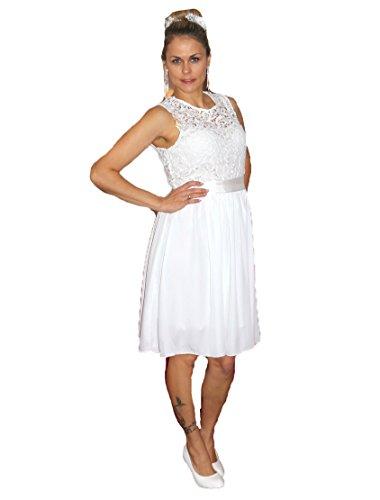 Unbekannt Brautkleid Spitze kurz Hochzeitskleid S M L XL XXL XXXL XXXXL Braut Kleid Standesamt Weiß (48)