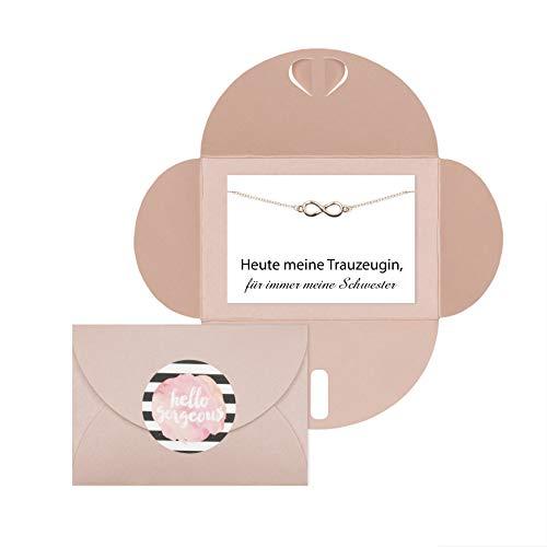 Lillyville - Trauzeugin Geschenk für Schwester Infinity Armband Rosegold und Karte - Heute Trauzeugin, Immer Meine Schwester - Umschlag Rosa