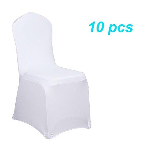 MCTECH® Schleifenband Stuhlbezüge Stuhlhussen Stretch Acelectronic Stuhlüberzug Moderne Stuhl Abdeckung für Hochzeiten und Feiern (10 Stück, Weiß)