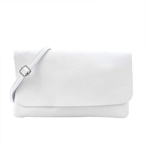 SH Leder Echtleder Umhängetasche Clutch kleine Tasche Abendtasche 24,50x15cm Ely G149 (Weiss)