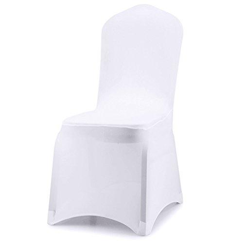 Acelectronic Stuhl Husse, 10 Stück Universell Stuhlhussen Stretch Stuhlbezug Stuhlüberzug der Haus Hochzeit Dekoration,Weiß