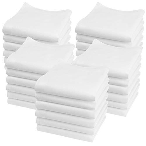 Merrysquare Mini-Tücher, einfarbig, Modell Lilliput – klein, 23 cm x 23 cm – 100 % Baumwolle Gr. X-Small, Weiß, 30 Stück.