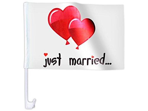 10 STK. Alsino Autoflagge AFL-10B Autofahne für die Hochzeit 'Just Married Ballons' Auto Flagge Fahne