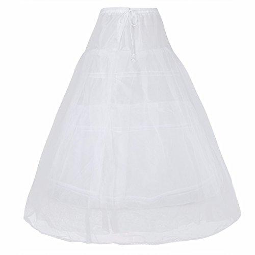 FEESHOW 3 Ringe Reifrock Petticoat Krinoline Unterrock für Hochzeit Brautkleid Blumenmädchenkleid Abendkleid Ballkleid Typ A 100cm OneSize