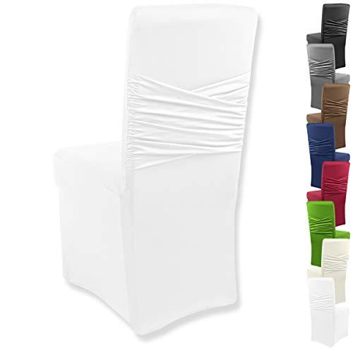 """Gräfenstayn® Stretch-Stuhlhusse Victoria - runde und eckige Stuhllehnen - bi-elastische Passform mit Öko-Tex Siegel Standard 100: """"Geprüftes Vertrauen"""" (Weiß)"""