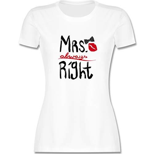 Hochzeit - Mrs. Always Right Pinsel - S - Weiß - mr Right mrs Always Right Tshirt - L191 - Tailliertes Tshirt für Damen und Frauen T-Shirt