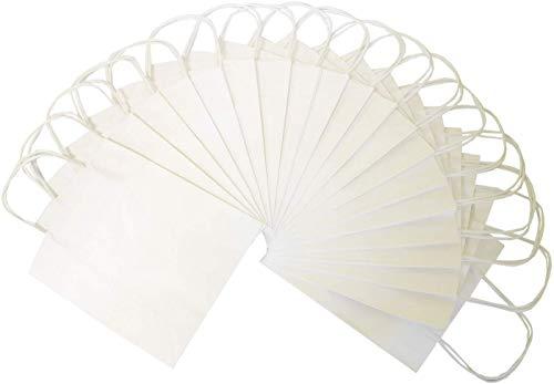 folia 22400 - Papiertüten aus Kraftpapier, Geschenktüten, 20 Stück, 24 x 12 x 31 cm, weiß - zum Basteln, Verzieren und Verschenken