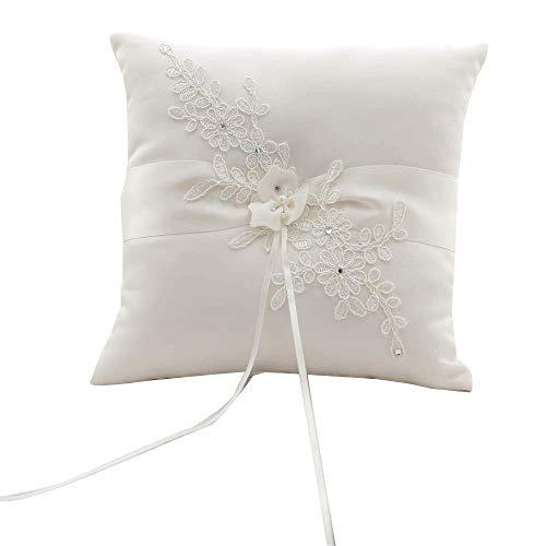Awtlife Ringkissen, für Hochzeiten, Blumen-Motiv, elfenbeinfarben, für Strand-Hochzeiten, 21cm