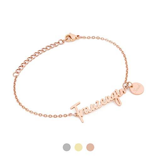 AVIANA Trauzeugin Armband mit Namen Gravur | Personalisierte Geschenke | Trauzeugin fragen | Personalisierter Schmuck | Farbe Silber Gold Rosegold