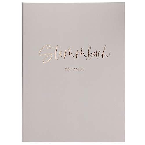DeinWeddingshop Stammbuch der Familie - Familienstammbuch Hochzeit Standesamt - Deluxe Serie - Hardcover 16x21cm (Beige/Roségold)