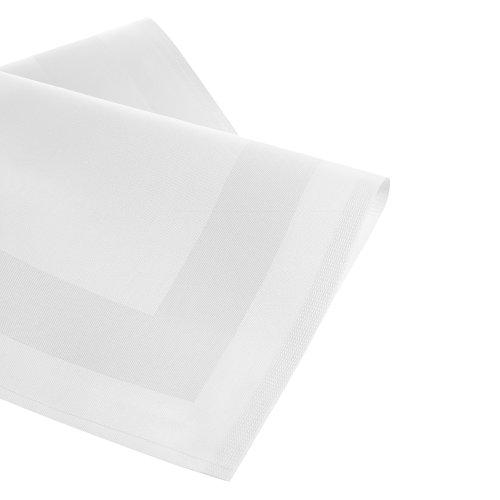 6 weiße Stoffservietten mit Atlaskante 50x50cm