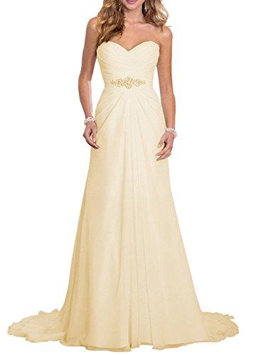 Solovedress Frauen Elegante Chiffon Brautkleider Eine Linie Abendkleid Kleid Hochzeitskleid (Europa 36,Champagner)