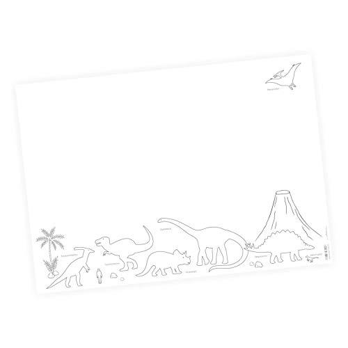 nikima Schönes für Kinder - Schreibtischunterlage Dinosaurier mit Vulkan - 25 Blatt Papier zum abreißen, A2 Malunterlage - T-Rex Triceraptor Stegosaurus - Geschenk zum Geburtstag oder Einschulung